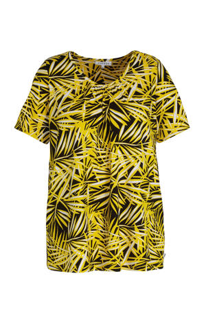 T-shirt met all over print en plooien geel/zwart/wit