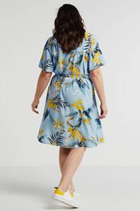 Zhenzi jurk met bladprint en ceintuur blauw/geel, Blauw/geel