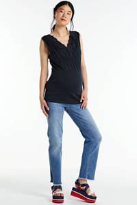 LOVE2WAIT zwangerschaps- en voedingstop met kant donkerblauw, Donkerblauw