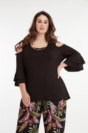 open shoulder top met open detail zwart