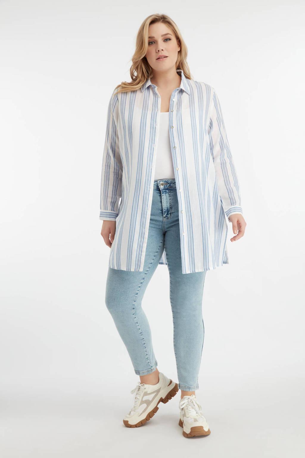 MS Mode gestreepte blouse blauw/wit, Blauw/wit
