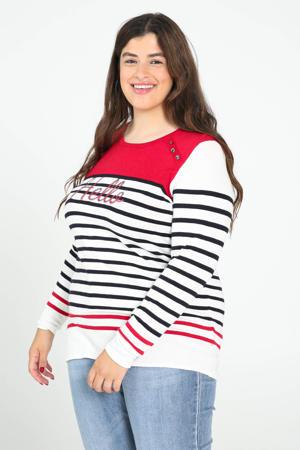 gestreepte gebreide trui rood/wit/zwart