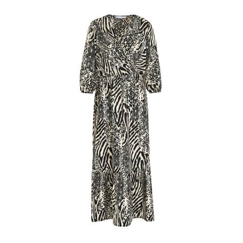 LOLALIZA maxi jurk met dierenprint ecru/zwart