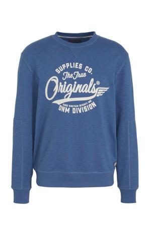 sweater met printopdruk blauw