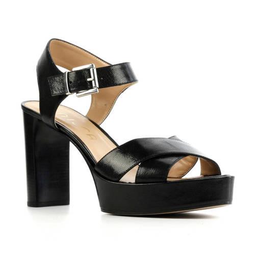 Unisa Viken leren sandalettes zwart