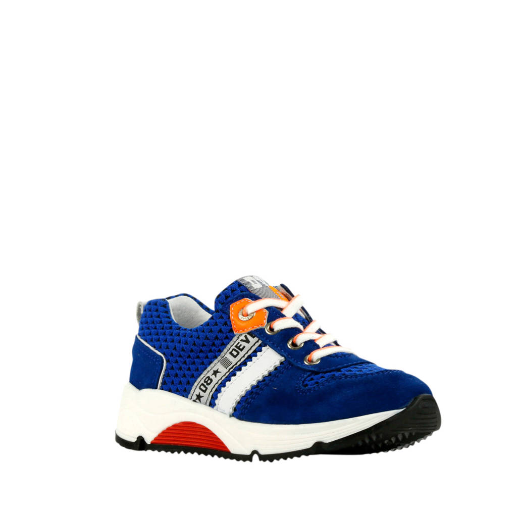 Develab 41381  suède sneakers blauw, Blauw/multi