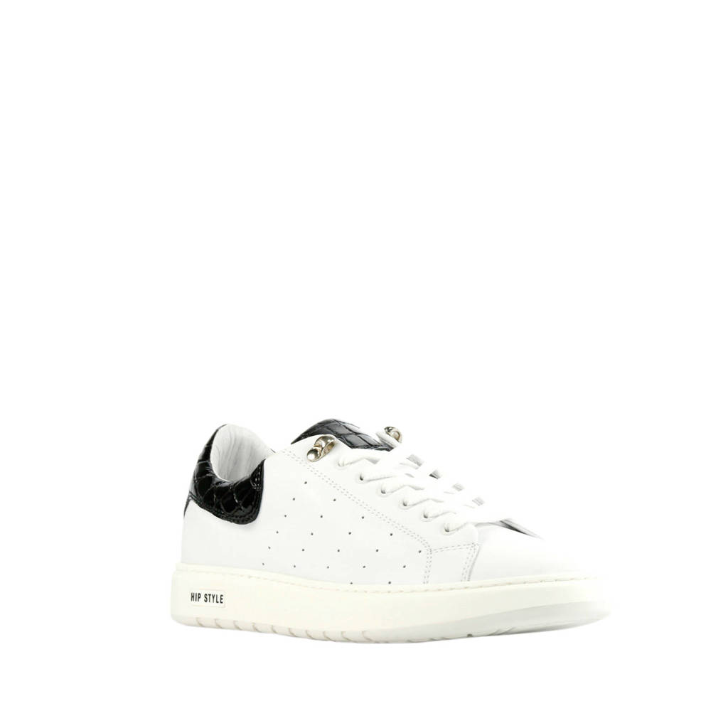 Hip D1938  leren sneakers wit/zwart, Wit/zwart