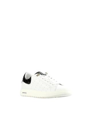 D1938  leren sneakers wit/zwart