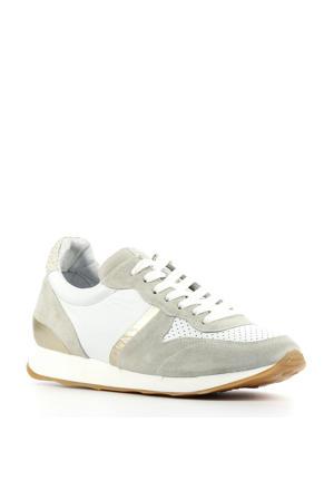 D1932  leren sneakers wit/beige
