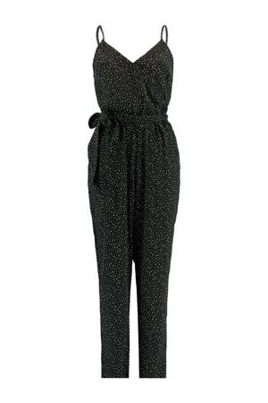 jumpsuit Pamela met stippen print zwart