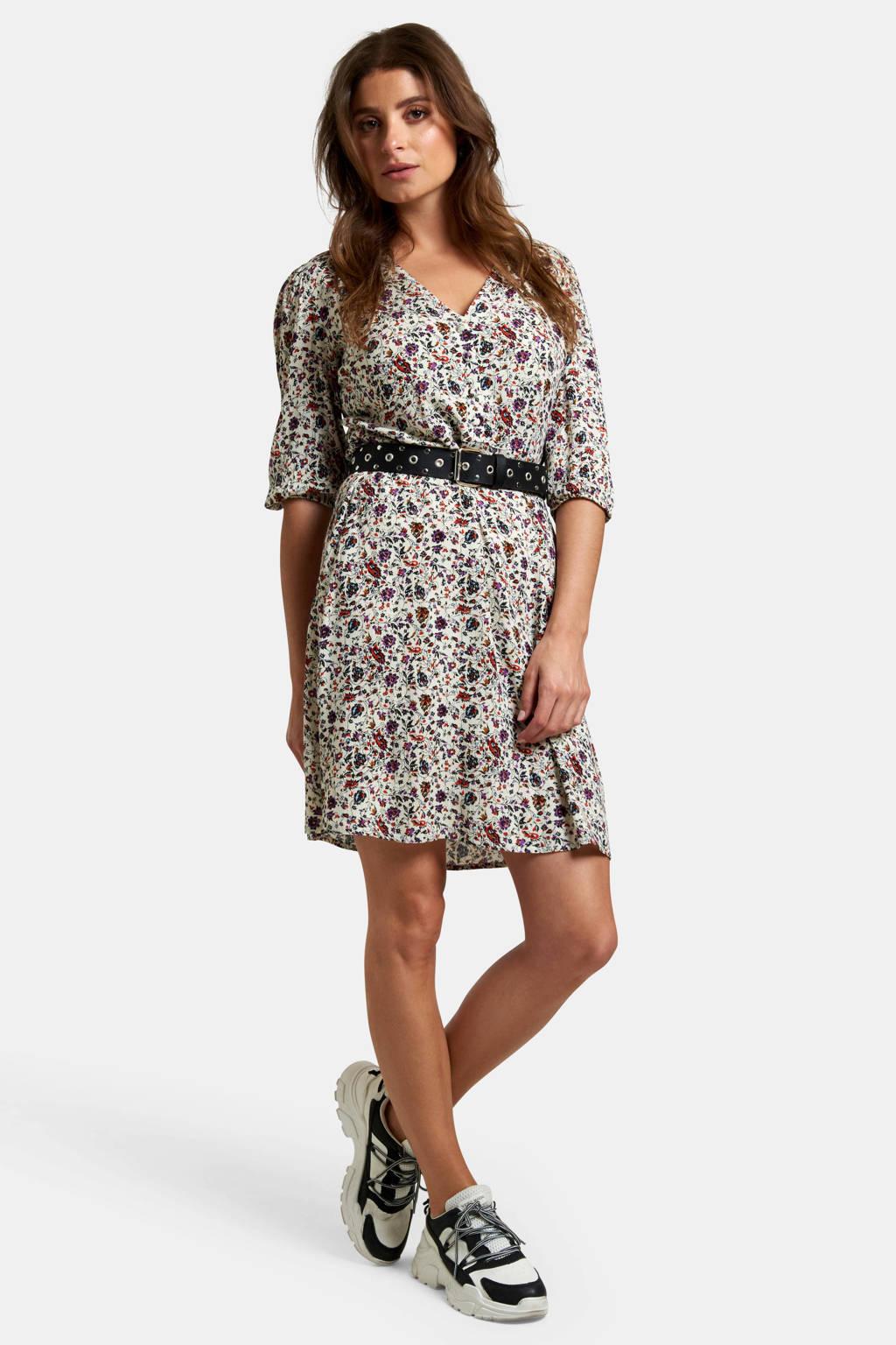 Eksept by Shoeby jurk Julia met all over print wit/rood/paars, Wit/rood/paars