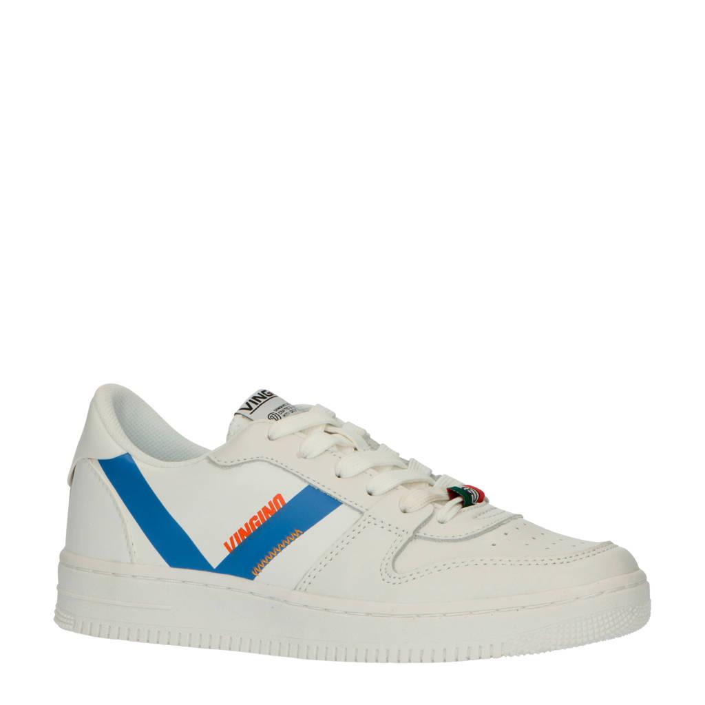 Vingino  Yari Low leren sneakers wit, Wit/kobaltblauw
