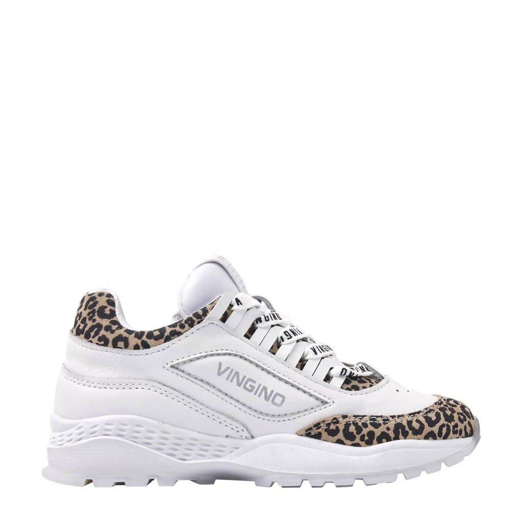 Vingino Fenna  leren chunky sneakers wit/panterprint, Wit/bruin