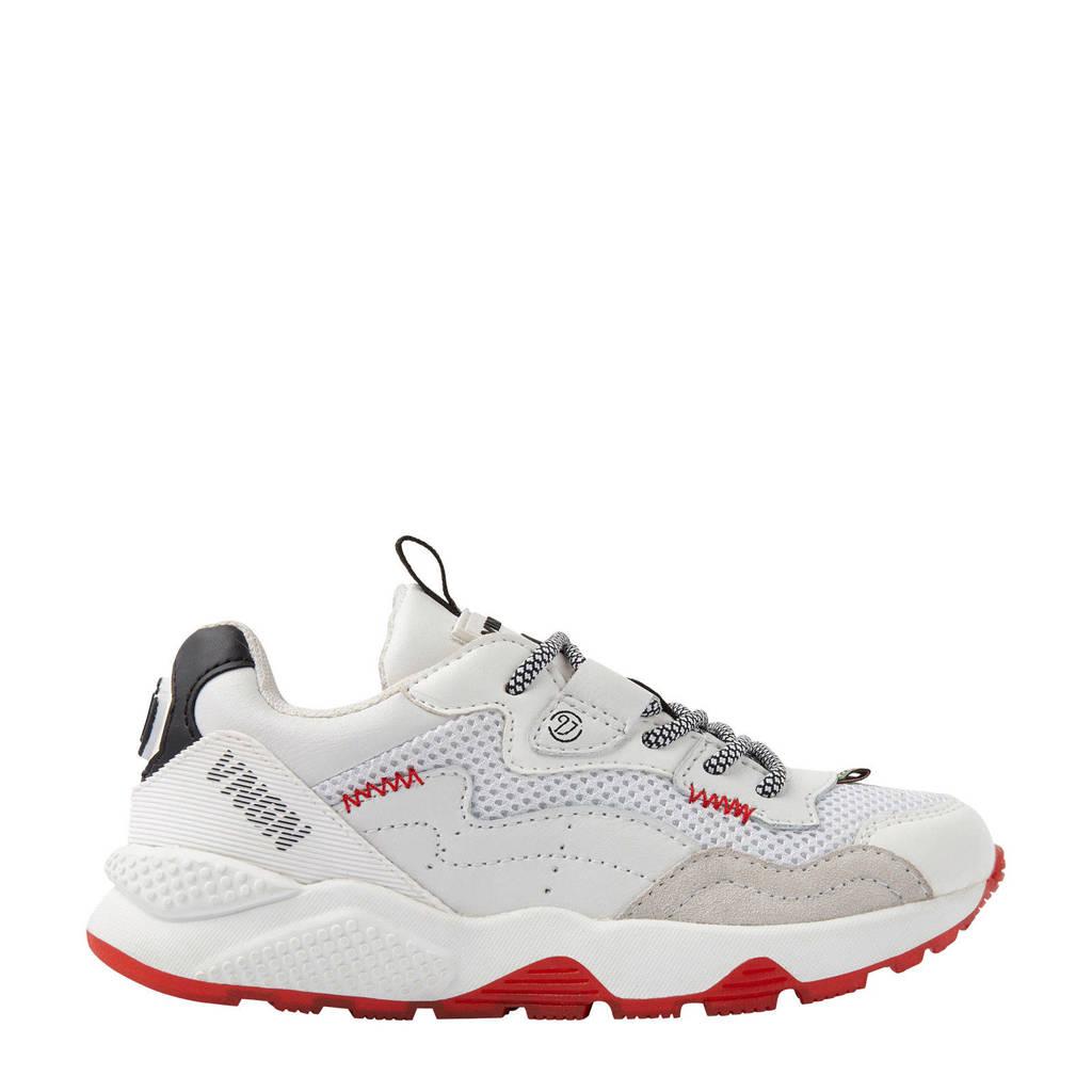Vingino Gio  leren sneakers wit, Wit/rood