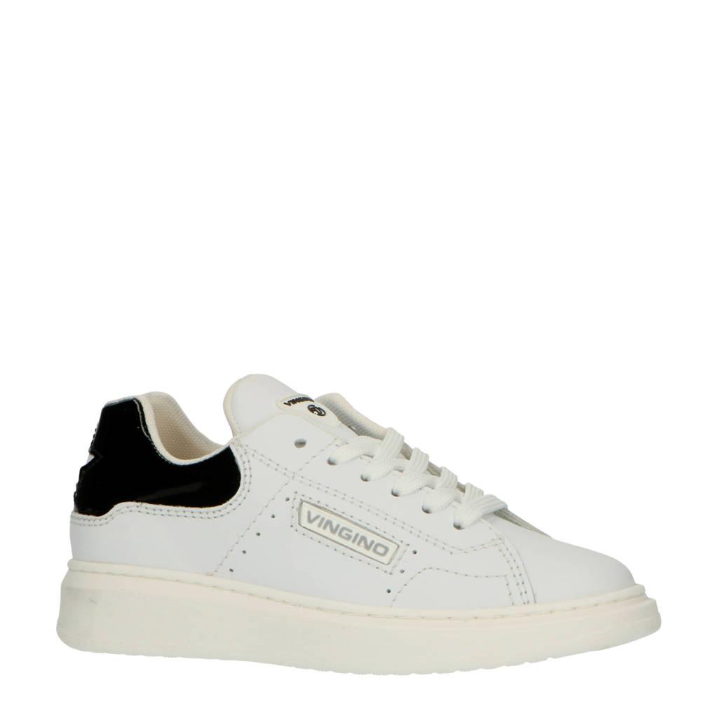 Vingino Britt  leren sneakers wit/zwart, Wit/zwart