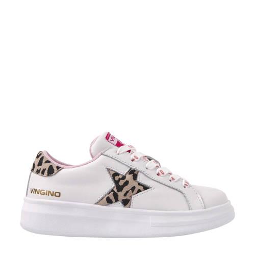 Vingino Mayke leren sneakers wit/panterprint