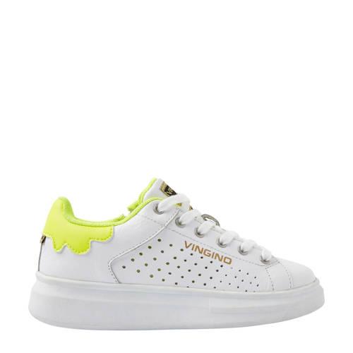 Vingino Bowien leren sneakers wit/geel