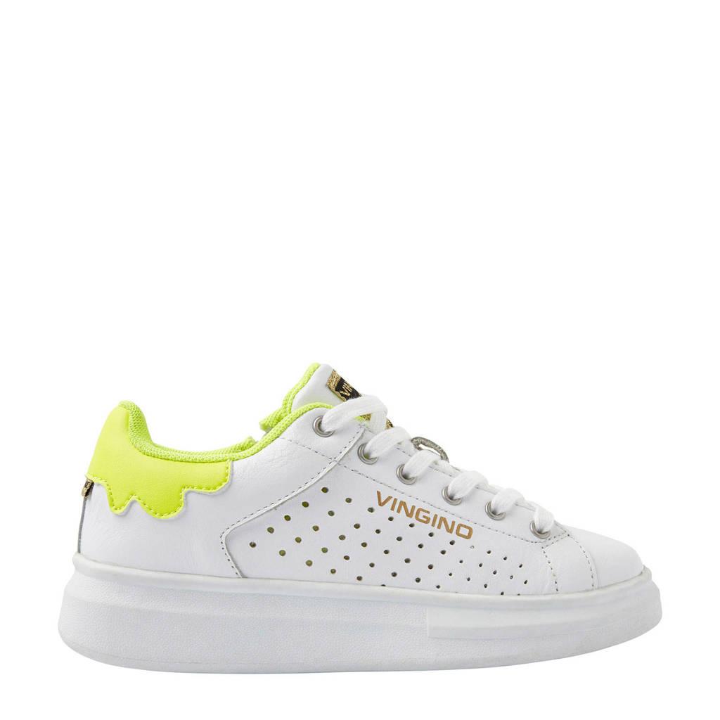Vingino Bowien  leren sneakers wit/geel, Wit/geel