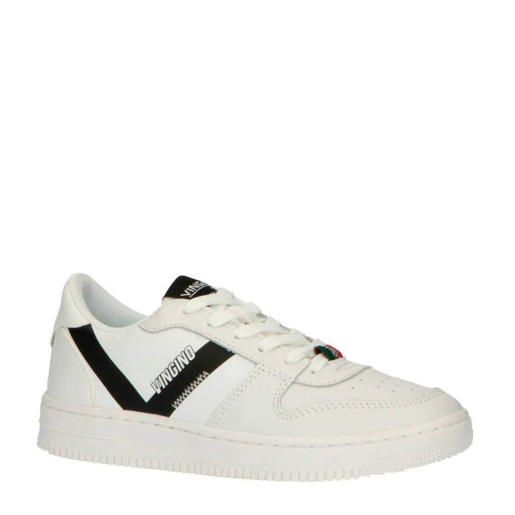 Vingino  Yari Low leren sneakers wit/zwart, Wit/zwart