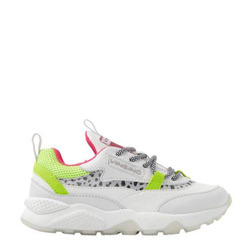 Vingino Marta leren chunky sneakers wit/geel