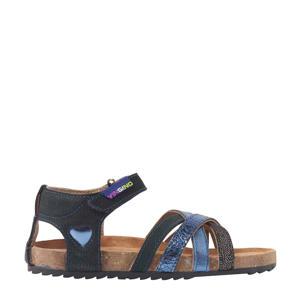 Sterre  leren sandalen metallic/blauw