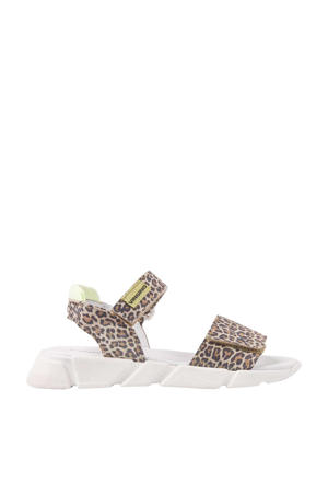 Suze  leren sandalen panterprint