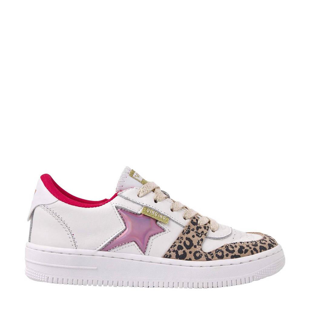 Vingino Lotte  leren sneakers wit/panterprint, Wit/multi