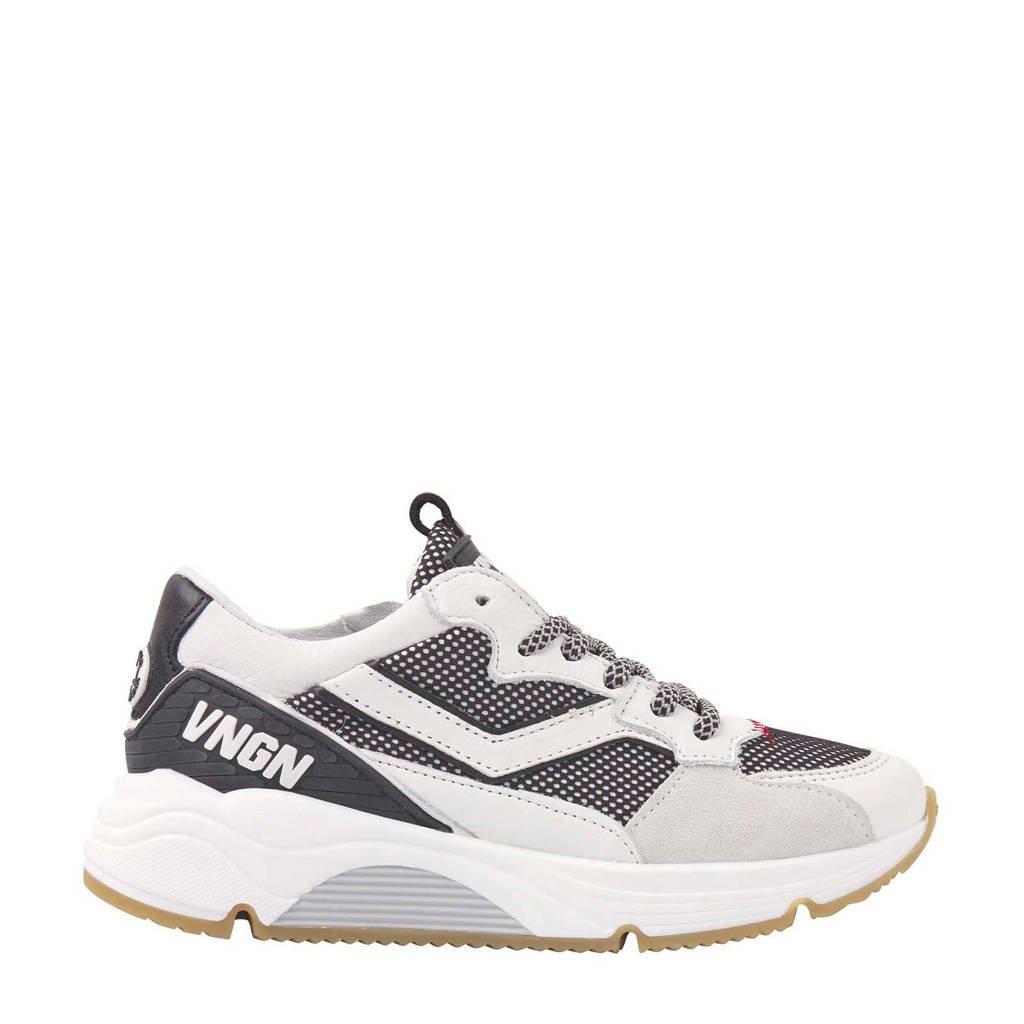 Vingino Celso  leren sneakers wit/grijs, Wit/grijs