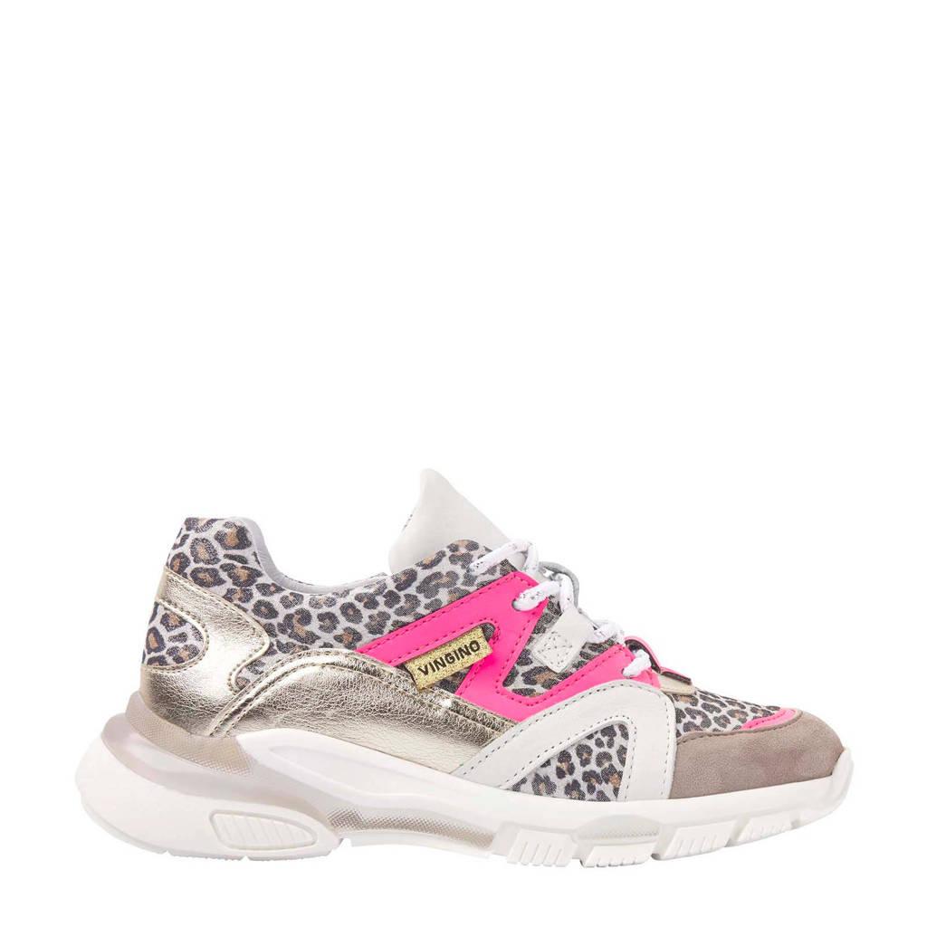 Vingino Milena  leren chunky sneakers panterprint, goud/multi