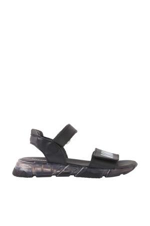 Nicolai  leren sandalen zwart
