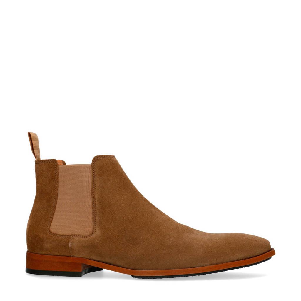 Manfield   suède chelsea boots beige, Beige/bruin