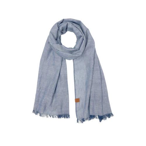 Sarlini sjaal met denim look blauw
