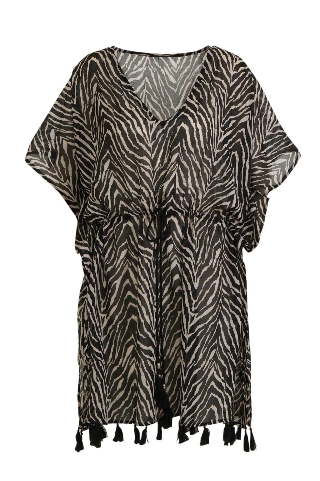 Sarlini kaftan met zebraprint zwart, Zwart