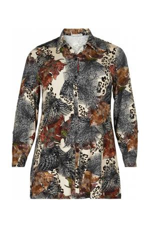 blouse met all over print ecru/zwart/bruin