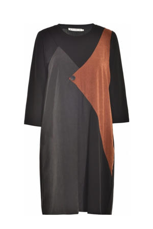 T-shirtjurk zwart/antraciet/donker oranje