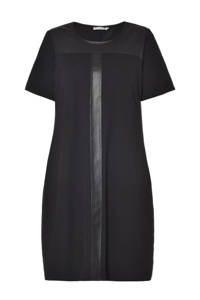 STUDIO jersey jurk met PU details zwart, Zwart