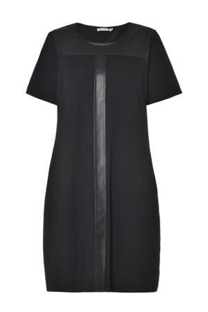 jersey jurk met PU details zwart