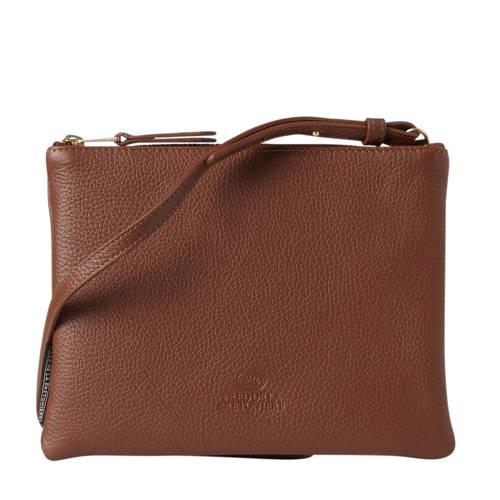 Fred de la Bretoniere Grain Leather Crossbody Bag L cognac