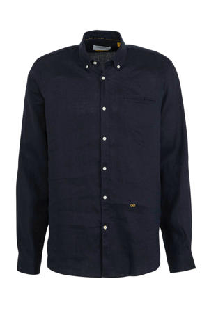 linnen regular fit overhemd marine