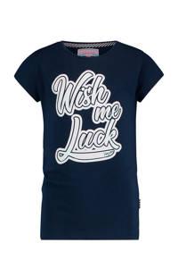 Vingino T-shirt Hoenne met tekst donkerblauw/wit, Donkerblauw/wit