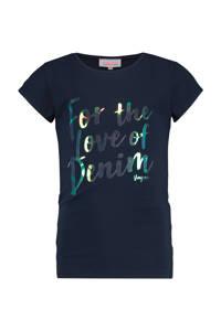 Vingino T-shirt Harlowy met tekst donkerblauw/zilver, Donkerblauw/zilver