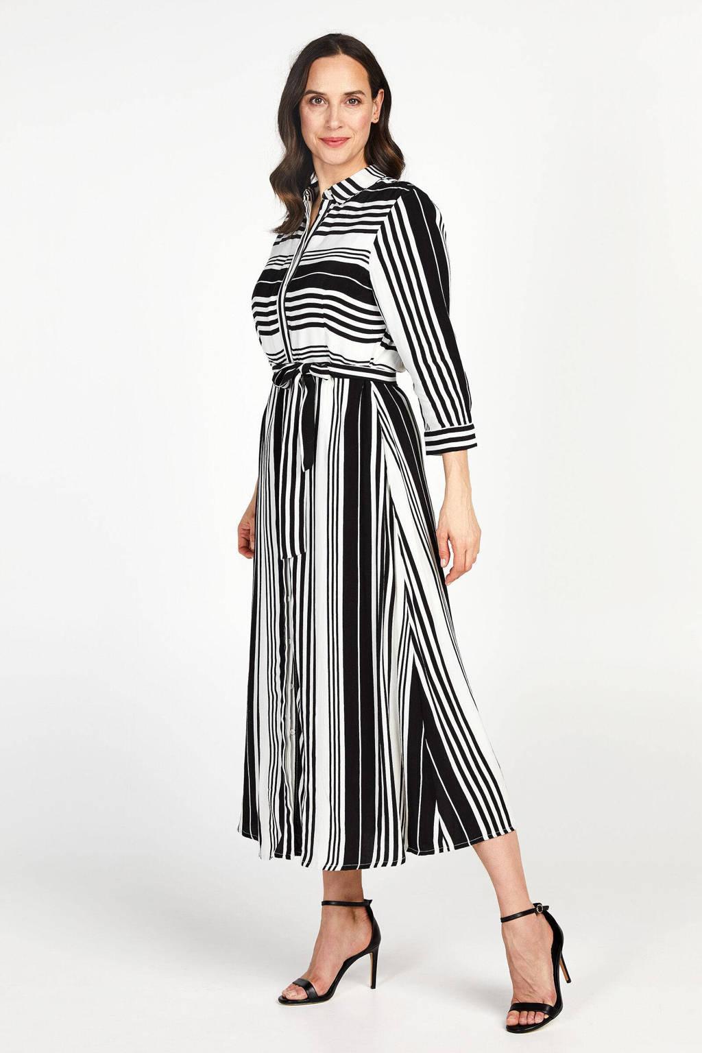 PROMISS gestreepte maxi jurk zwart/wit, Zwart/wit