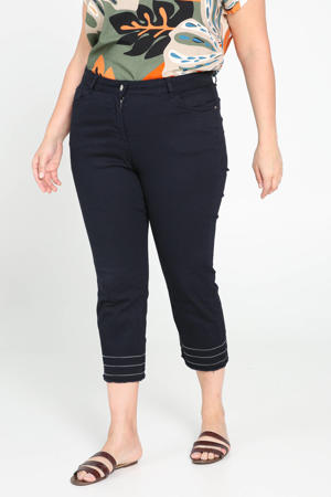 high waist straight fit capri marine