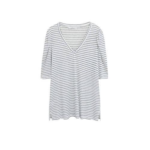 Violeta by Mango gestreept linnen T-shirt wit/zwar