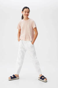 Mango Kids loose fit broek wit, Wit