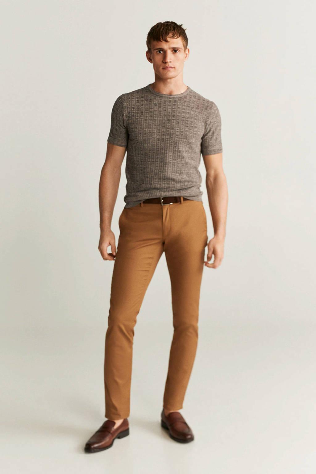 Mango Man T-shirt met wol bruin, Bruin