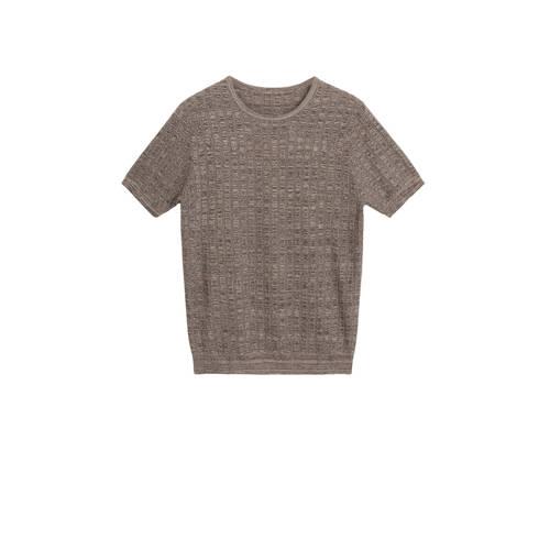 Mango Man T-shirt met wol bruin