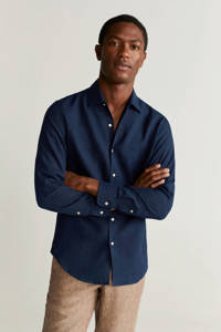 Mango Man linnen slim fit overhemd marineblauw, Marineblauw