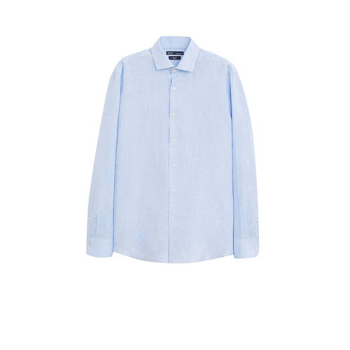 Mango Man linnen slim fit overhemd pastelblauw