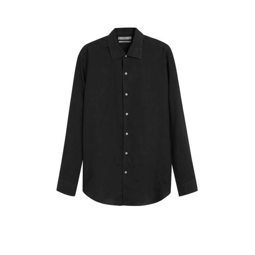 Mango Man linnen slim fit overhemd zwart